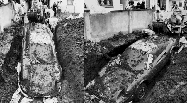the true story of how a ferrari ended up buried in someone s yard
